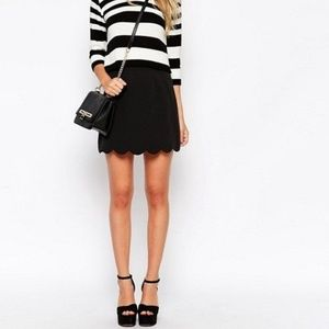 NWT ASOS Scalloped Hem Black Mini Skirt